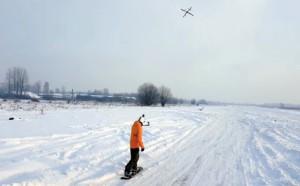Snowboarder towed by Aerones drone - Droneboarding