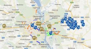 Карта велосипедных маршрутов и дорожек Киева