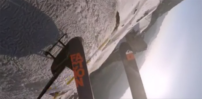 Экстремал на лыжах показал впечатляющее видео спуска в Альпах