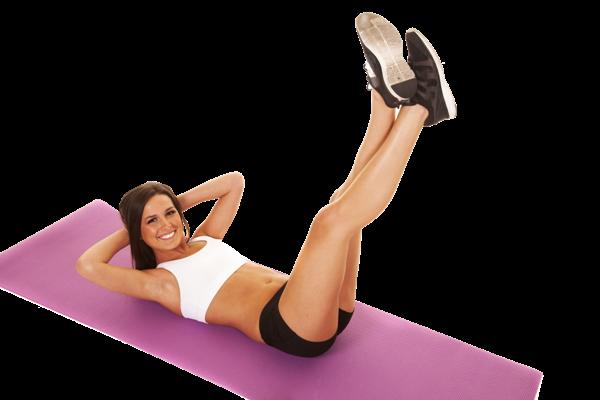 Упражнение «Скручивания», с поднятыми ногами