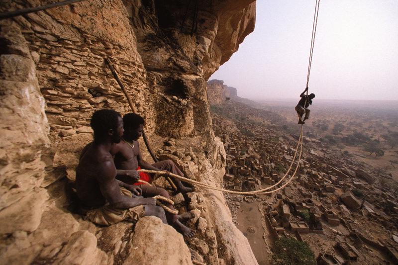 Climbers on Bandiagara Cliffs, Mali