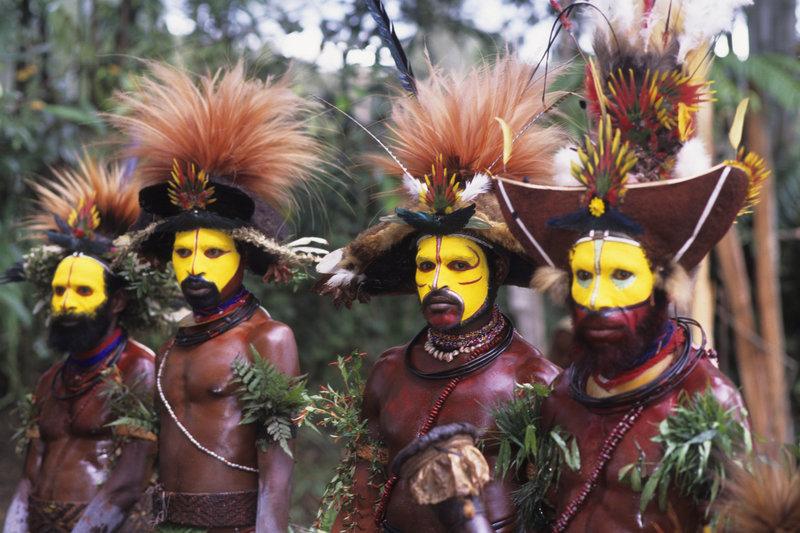New Guinea Highlands, Near Tari, Huli Dancers With