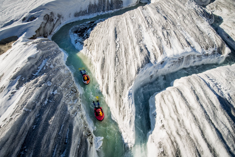 Hydrospeed adventure on the largest glacier in the Alps - the Aletsch Glacier (14mi. long), which is a UNESCO world heritage site / Photographer: David Carlier, www.davidcarlierphotography.com